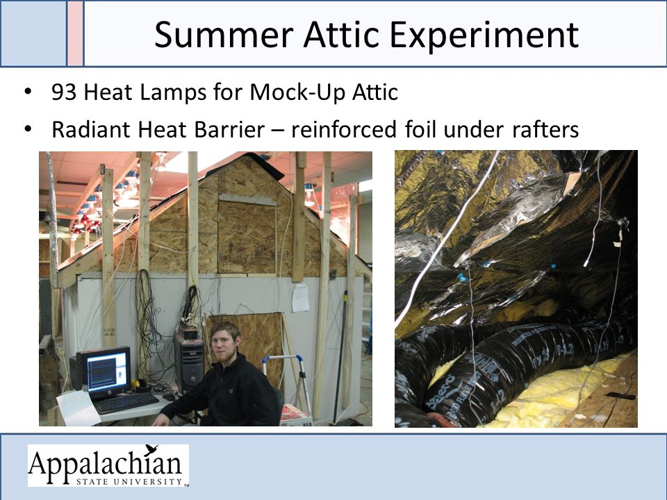 Summer Attic Experiment 93 Heat Lamps for Mock-Up Attic Radiant Heat Barrier – reinforced foil under rafters