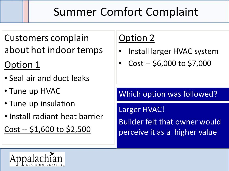 Summer Comfort Complaint Customers complain about hot indoor temps Option 1 Seal air and duct leaks Tune up HVAC Tune up insulation Install radiant heat barrier Cost -- $1,600 to $2,500 Option 2 Install larger HVAC system Cost -- $6,000 to $7,000 Larger HVAC.