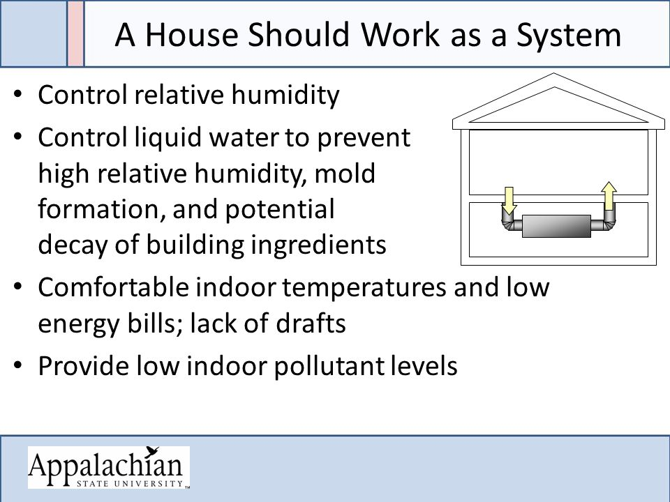 A House Should Work as a System Control relative humidity Control liquid water to prevent high relative humidity, mold formation, and potential decay of building ingredients Comfortable indoor temperatures and low energy bills; lack of drafts Provide low indoor pollutant levels
