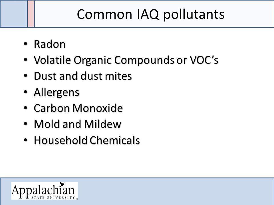 Common IAQ pollutants Radon Radon Volatile Organic Compounds or VOC's Volatile Organic Compounds or VOC's Dust and dust mites Dust and dust mites Alle
