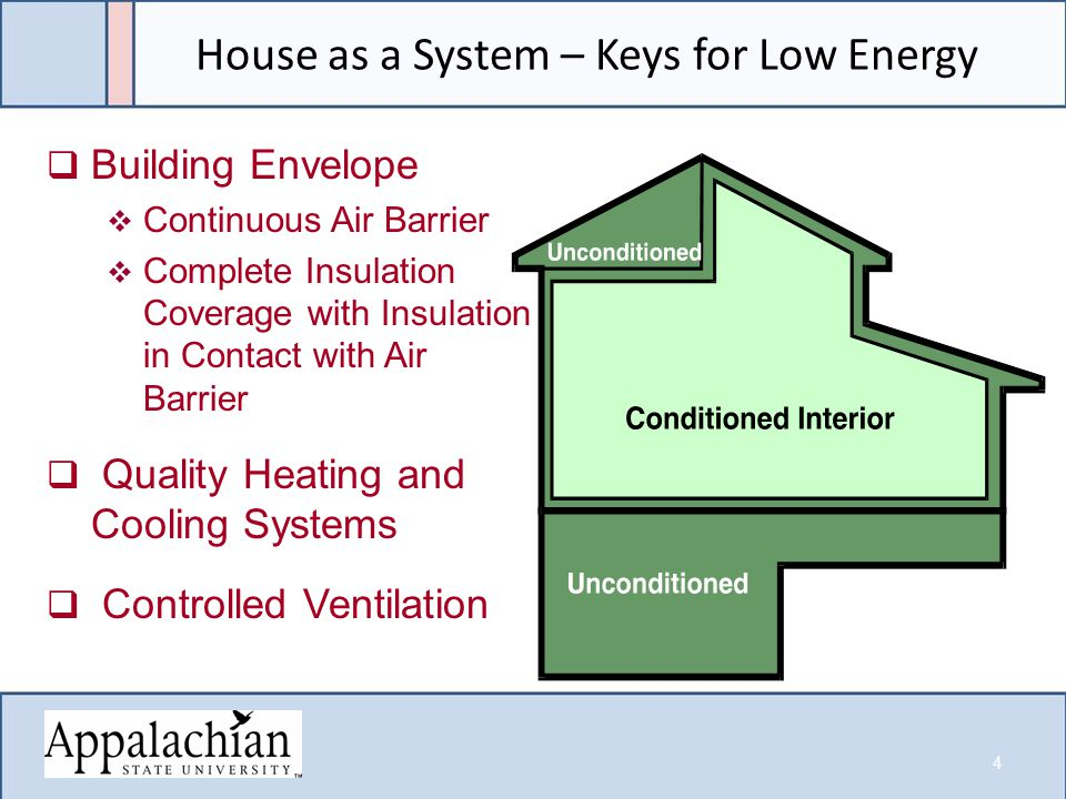 House as a System – Keys for Low Energy  Building Envelope  Continuous Air Barrier  Complete Insulation Coverage with Insulation in Contact with Air Barrier  Quality Heating and Cooling Systems  Controlled Ventilation 4