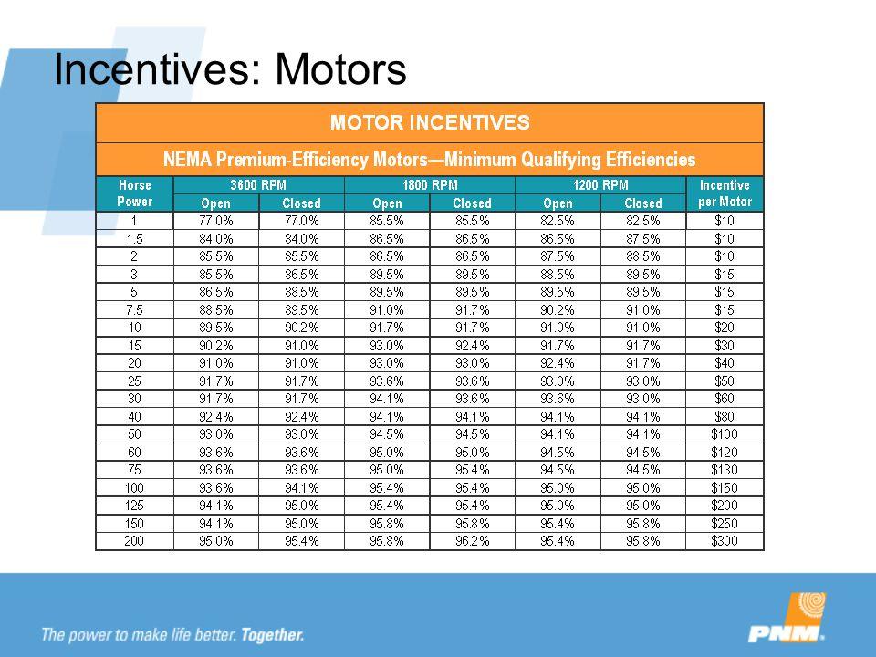 Incentives: Motors