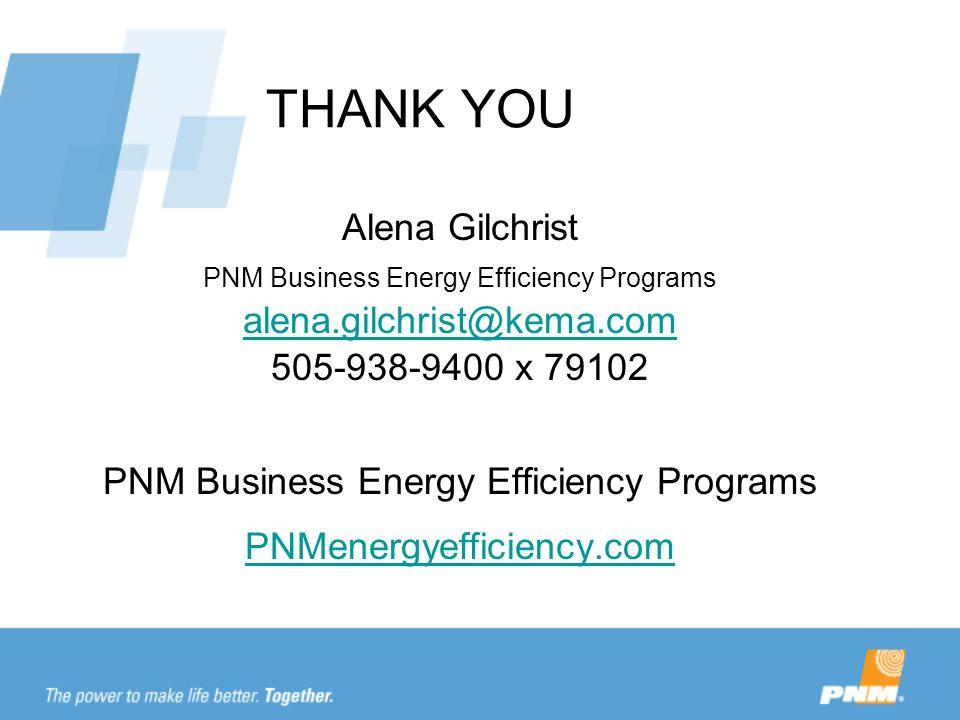 THANK YOU Alena Gilchrist PNM Business Energy Efficiency Programs alena.gilchrist@kema.com 505-938-9400 x 79102 alena.gilchrist@kema.com PNM Business Energy Efficiency Programs PNMenergyefficiency.com