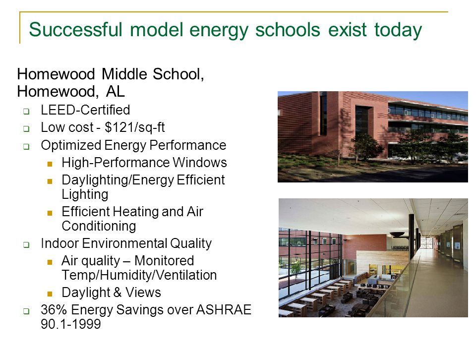 Successful model energy schools exist today Homewood Middle School, Homewood, AL  LEED-Certified  Low cost - $121/sq-ft  Optimized Energy Performance High-Performance Windows Daylighting/Energy Efficient Lighting Efficient Heating and Air Conditioning  Indoor Environmental Quality Air quality – Monitored Temp/Humidity/Ventilation Daylight & Views  36% Energy Savings over ASHRAE 90.1-1999