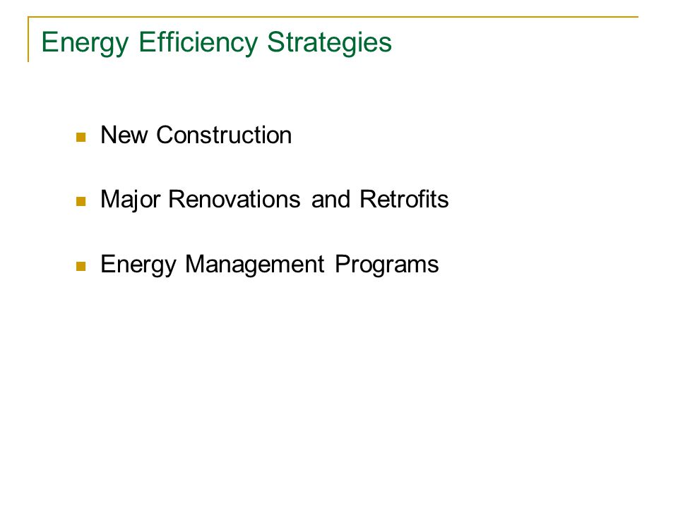 Designing Energy Efficient Schools Advanced Energy Design Guide Provides guidelines for designing and building energy efficient schools  Schools would have minimum 30% energy savings over current code Accounts for different climates (and gives climate-specific recommendations) No unproven technologies – focuses on cost-effective solutions and off-the- shelf technologies  Minimal first cost increase if guide is used throughout design process Developed in partnership with ASHRAE, AIA, IESNA, USGBC