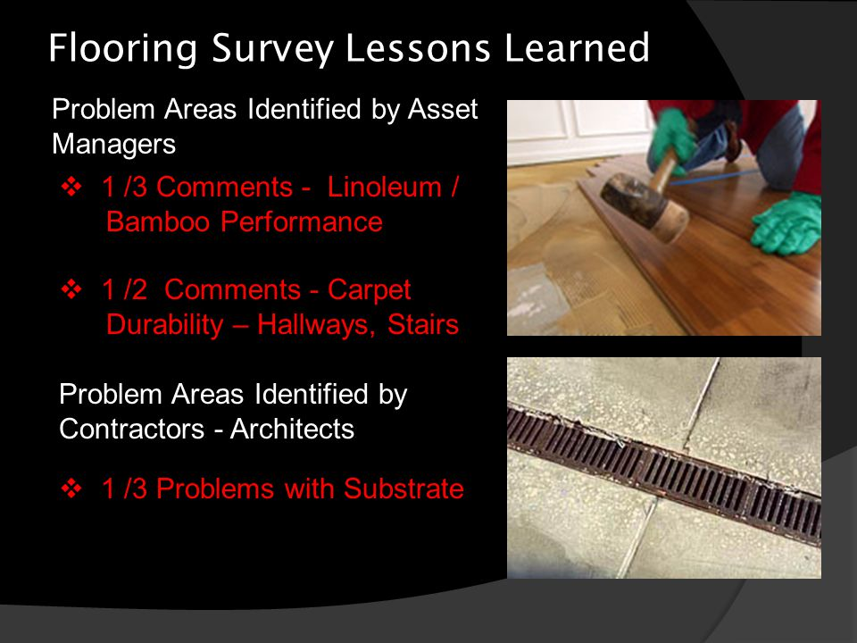 Flooring Survey Lessons Learned Problem Areas Identified by Asset Managers  1 /3 Comments - Linoleum / Bamboo Performance  1 /2 Comments - Carpet Durability – Hallways, Stairs Problem Areas Identified by Contractors - Architects  1 /3 Problems with Substrate