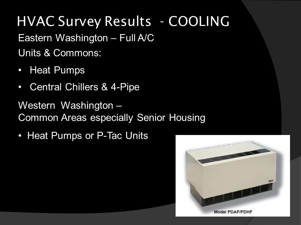HVAC Survey Results - COOLING Eastern Washington – Full A/C Western Washington – Common Areas especially Senior Housing Units & Commons: Heat Pumps Central Chillers & 4-Pipe Heat Pumps or P-Tac Units