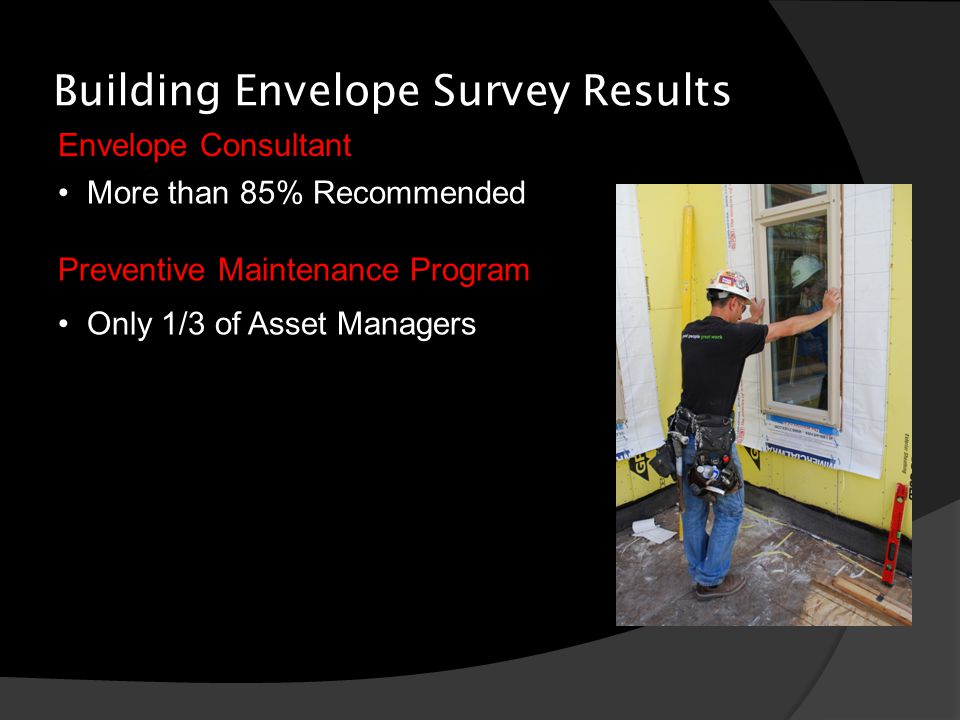 Building Envelope Survey Results Envelope Consultant More than 85% Recommended Preventive Maintenance Program Only 1/3 of Asset Managers