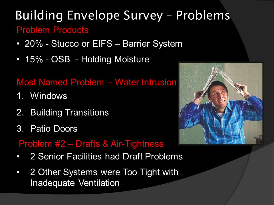 Building Envelope Survey – Problems Most Named Problem – Water Intrusion 1.Windows 2.Building Transitions 3.Patio Doors Problem #2 – Drafts & Air-Tightness 2 Senior Facilities had Draft Problems 2 Other Systems were Too Tight with Inadequate Ventilation Problem Products 20% - Stucco or EIFS – Barrier System 15% - OSB - Holding Moisture