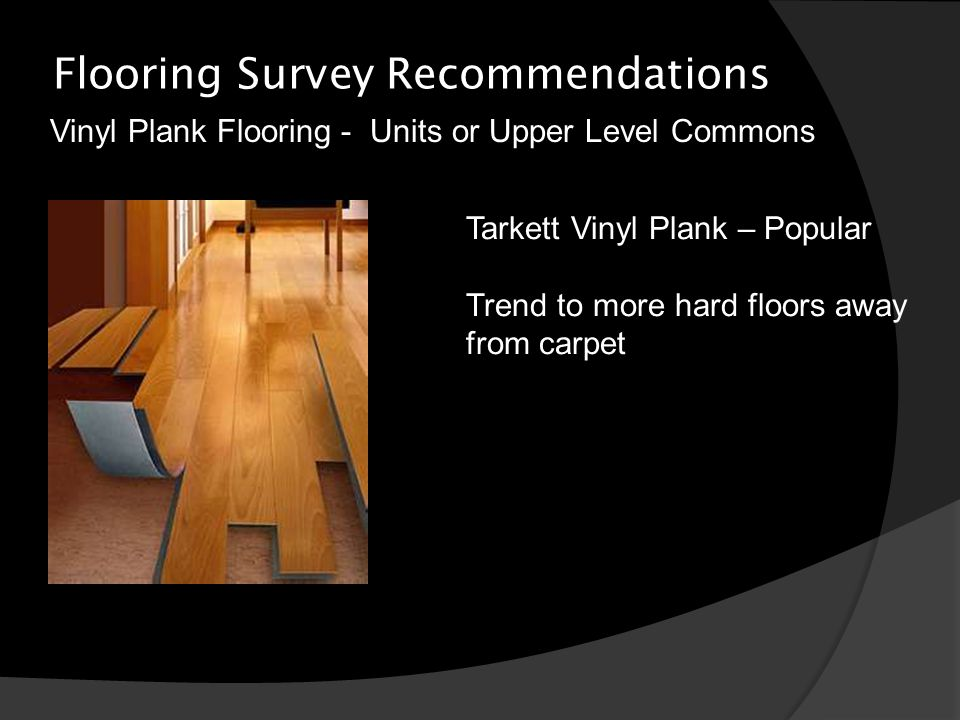 Flooring Survey Recommendations Vinyl Plank Flooring - Units or Upper Level Commons Tarkett Vinyl Plank – Popular Trend to more hard floors away from carpet