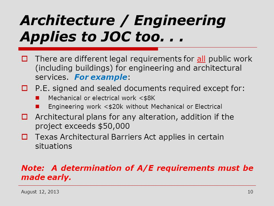 Architecture / Engineering Applies to JOC too...