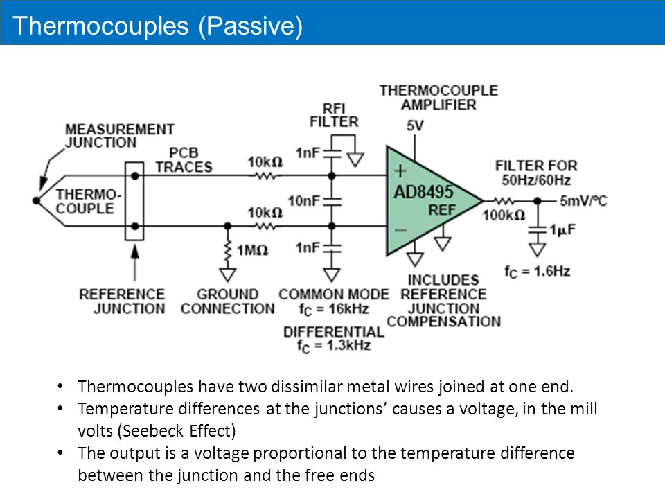 Thermocouples By holding one junction at a known temperature (reference junction) and measuring the voltage, the temperature at the sensing junction can be deduced.