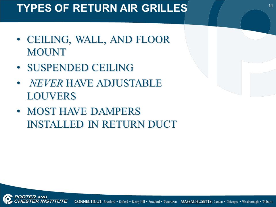 11 TYPES OF RETURN AIR GRILLES CEILING, WALL, AND FLOOR MOUNT SUSPENDED CEILING NEVER HAVE ADJUSTABLE LOUVERS MOST HAVE DAMPERS INSTALLED IN RETURN DUCT TYPES OF RETURN AIR GRILLES CEILING, WALL, AND FLOOR MOUNT SUSPENDED CEILING NEVER HAVE ADJUSTABLE LOUVERS MOST HAVE DAMPERS INSTALLED IN RETURN DUCT