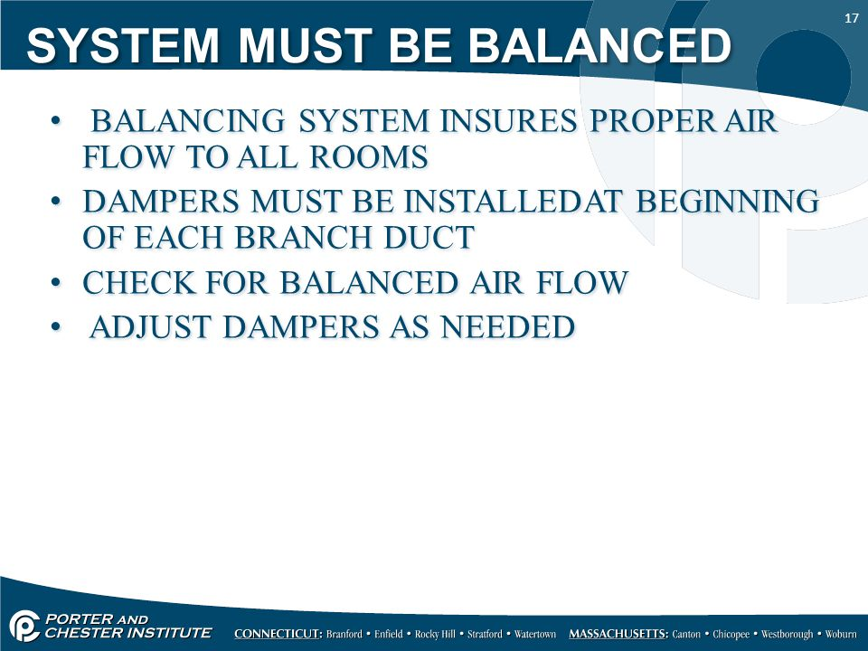 17 SYSTEM MUST BE BALANCED BALANCING SYSTEM INSURES PROPER AIR FLOW TO ALL ROOMS DAMPERS MUST BE INSTALLEDAT BEGINNING OF EACH BRANCH DUCT CHECK FOR BALANCED AIR FLOW ADJUST DAMPERS AS NEEDED BALANCING SYSTEM INSURES PROPER AIR FLOW TO ALL ROOMS DAMPERS MUST BE INSTALLEDAT BEGINNING OF EACH BRANCH DUCT CHECK FOR BALANCED AIR FLOW ADJUST DAMPERS AS NEEDED