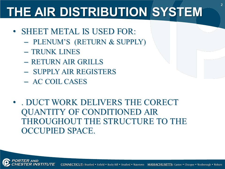 2 THE AIR DISTRIBUTION SYSTEM SHEET METAL IS USED FOR: – PLENUM'S (RETURN & SUPPLY) –TRUNK LINES –RETURN AIR GRILLS – SUPPLY AIR REGISTERS – AC COIL CASES.