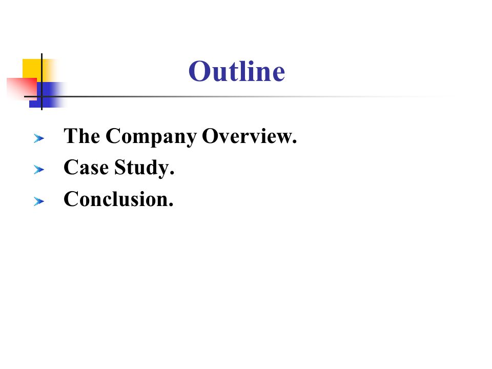 Outline The Company Overview. Case Study. Conclusion.