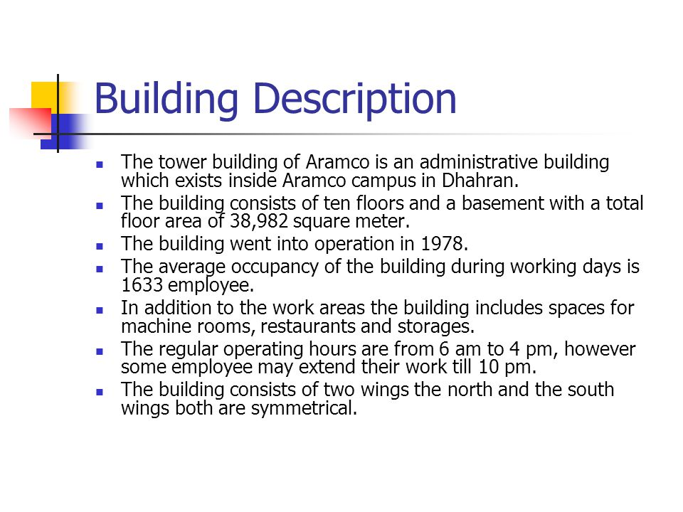 Building Layout South Wing North Wing Basement Chillers room and Storage area Upper Podium Fresh air intake, Main Exhaust fan and Elevator machines AHUs Rooms AHUs Room Building Plan