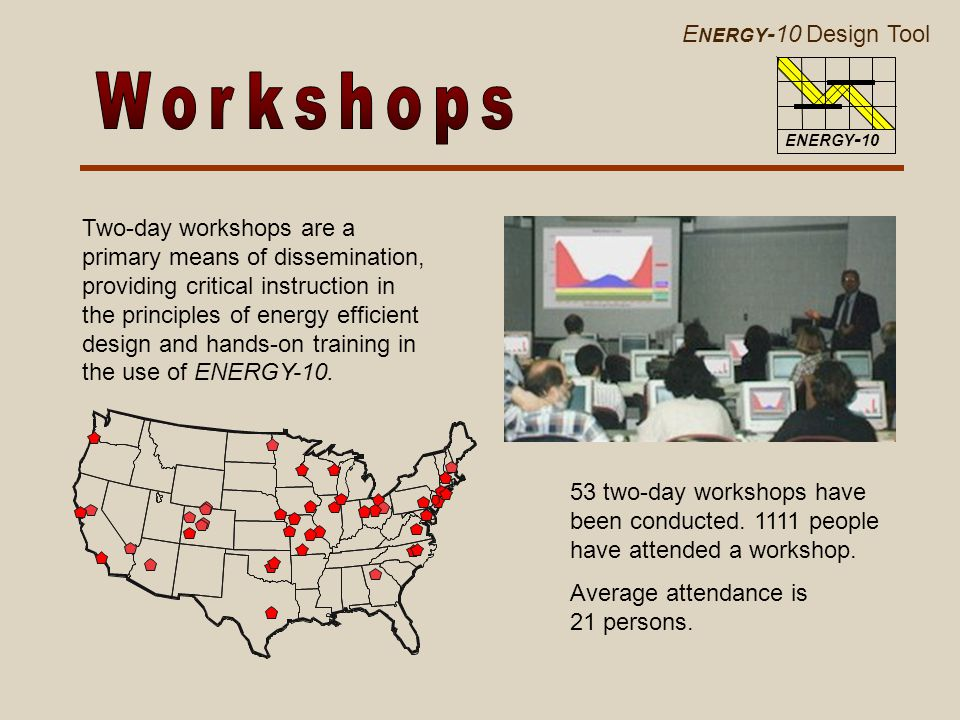 E NERGY -10 Design Tool ENERGY - 10 Two-day workshops are a primary means of dissemination, providing critical instruction in the principles of energy efficient design and hands-on training in the use of ENERGY-10.