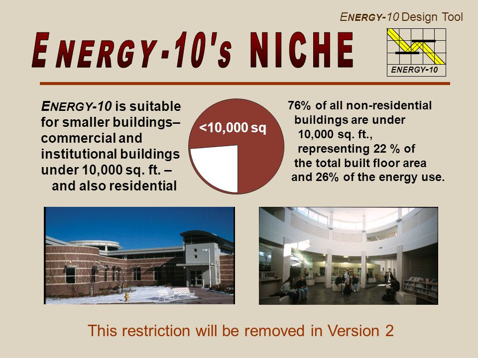 E NERGY -10 Design Tool ENERGY - 10 E NERGY -10 is suitable for smaller buildings– commercial and institutional buildings under 10,000 sq.