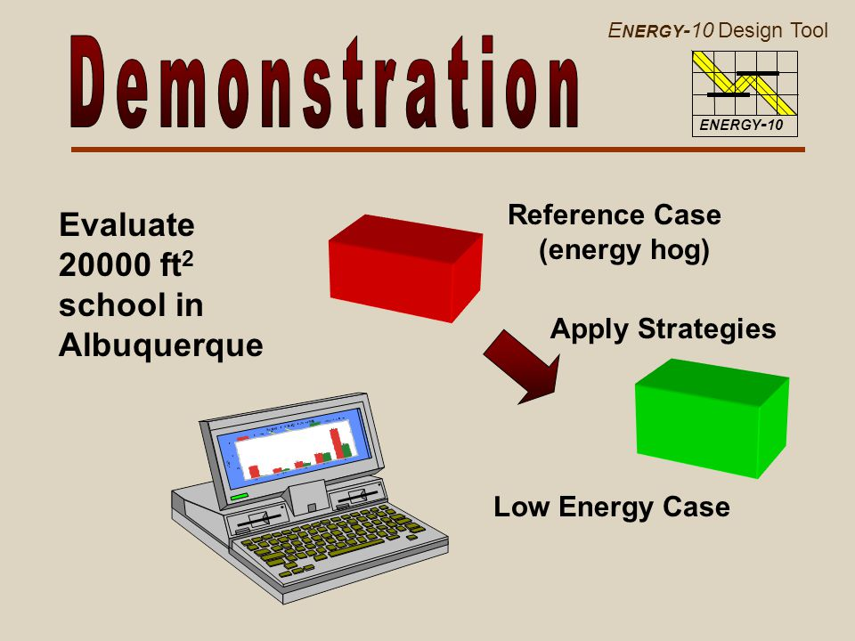 E NERGY -10 Design Tool ENERGY - 10 Evaluate 20000 ft 2 school in Albuquerque Reference Case (energy hog) Low Energy Case Apply Strategies