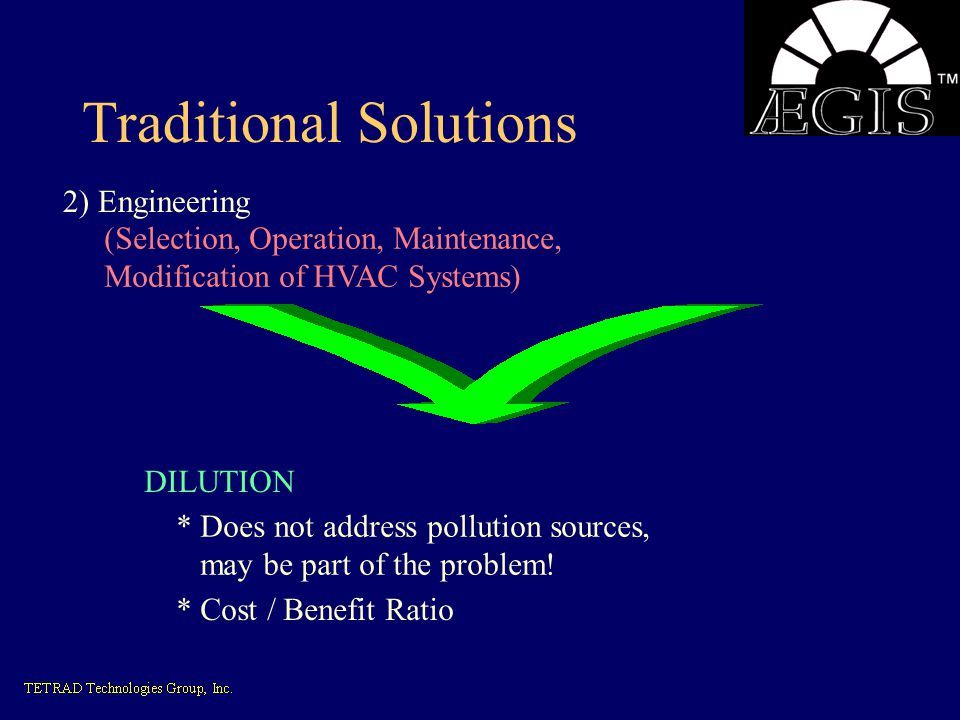 Traditional Solutions 2) Engineering (Selection, Operation, Maintenance, Modification of HVAC Systems) DILUTION * Does not address pollution sources,