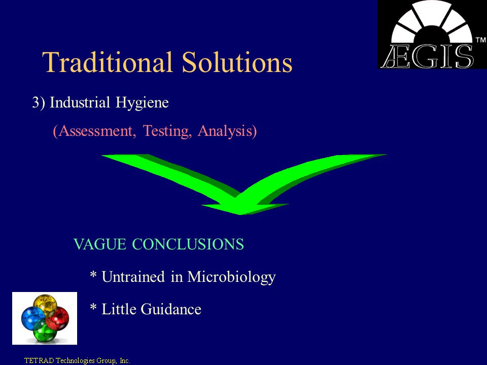 Traditional Solutions 3) Industrial Hygiene (Assessment, Testing, Analysis) VAGUE CONCLUSIONS * Untrained in Microbiology * Little Guidance