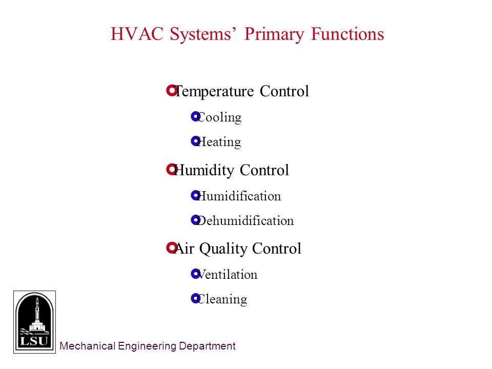 Mechanical Engineering Department  Temperature Control  Cooling  Heating  Humidity Control  Humidification  Dehumidification  Air Quality Control  Ventilation  Cleaning HVAC Systems' Primary Functions