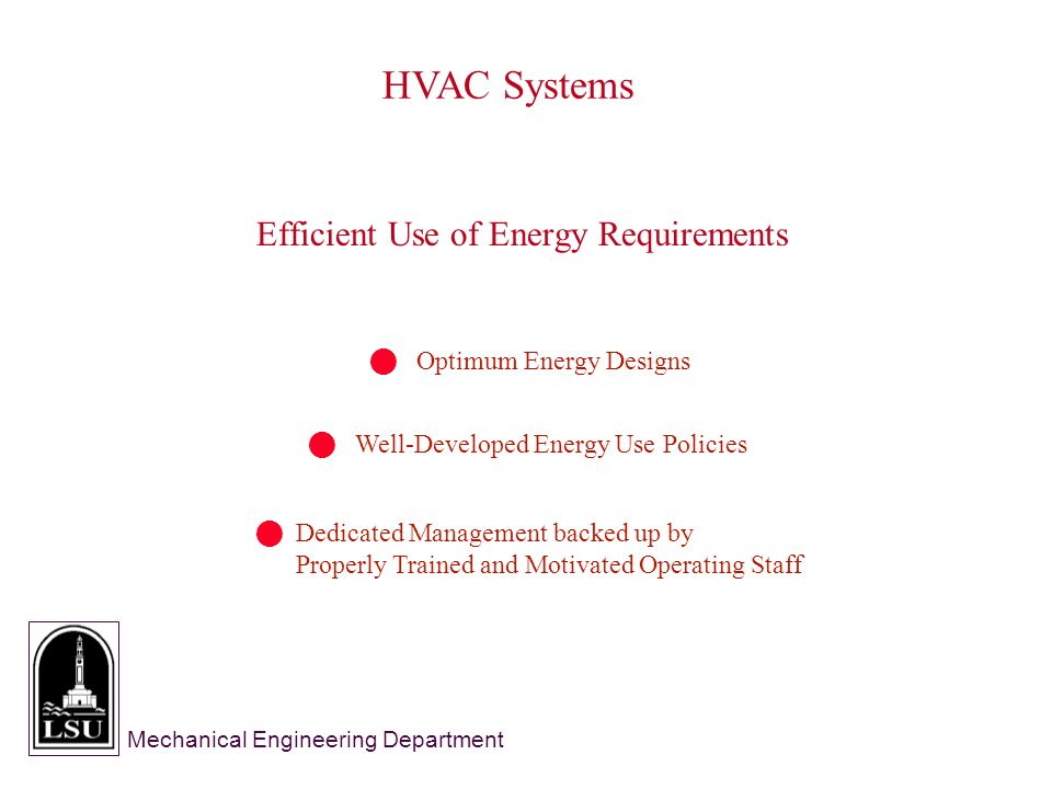 Mechanical Engineering Department HVAC Systems Efficient Use of Energy Requirements Optimum Energy Designs Well-Developed Energy Use Policies Dedicated Management backed up by Properly Trained and Motivated Operating Staff