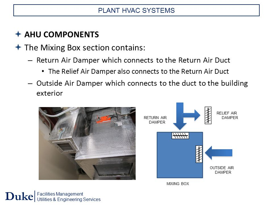 Facilities Management Utilities & Engineering Services Duke PLANT HVAC SYSTEMS  AHU COMPONENTS  The Mixing Box section contains: – Return Air Damper