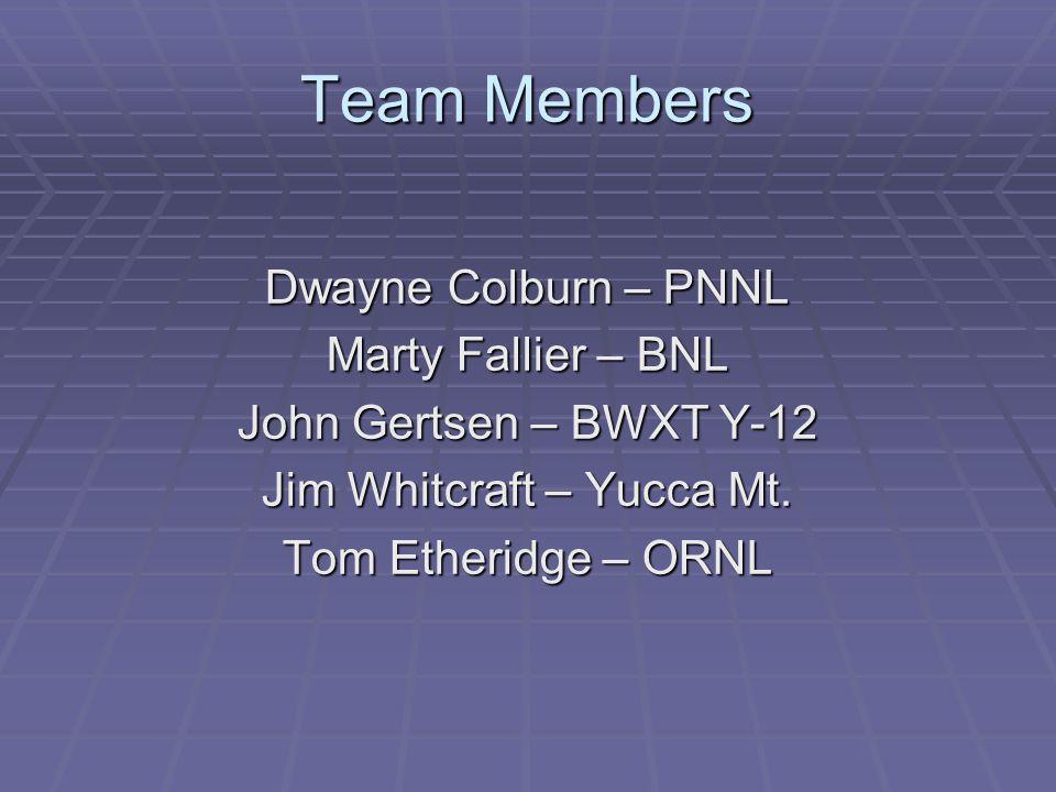 Team Members Dwayne Colburn – PNNL Marty Fallier – BNL John Gertsen – BWXT Y-12 Jim Whitcraft – Yucca Mt.
