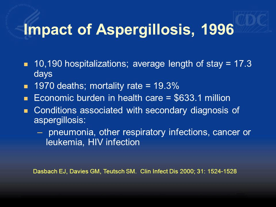 Impact of Aspergillosis, 1996 10,190 hospitalizations; average length of stay = 17.3 days 1970 deaths; mortality rate = 19.3% Economic burden in healt