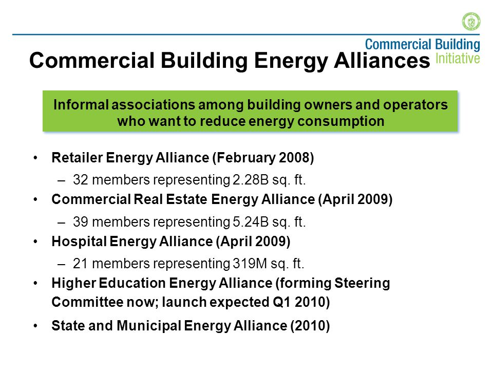 Commercial Building Energy Alliances Retailer Energy Alliance (February 2008) –32 members representing 2.28B sq.