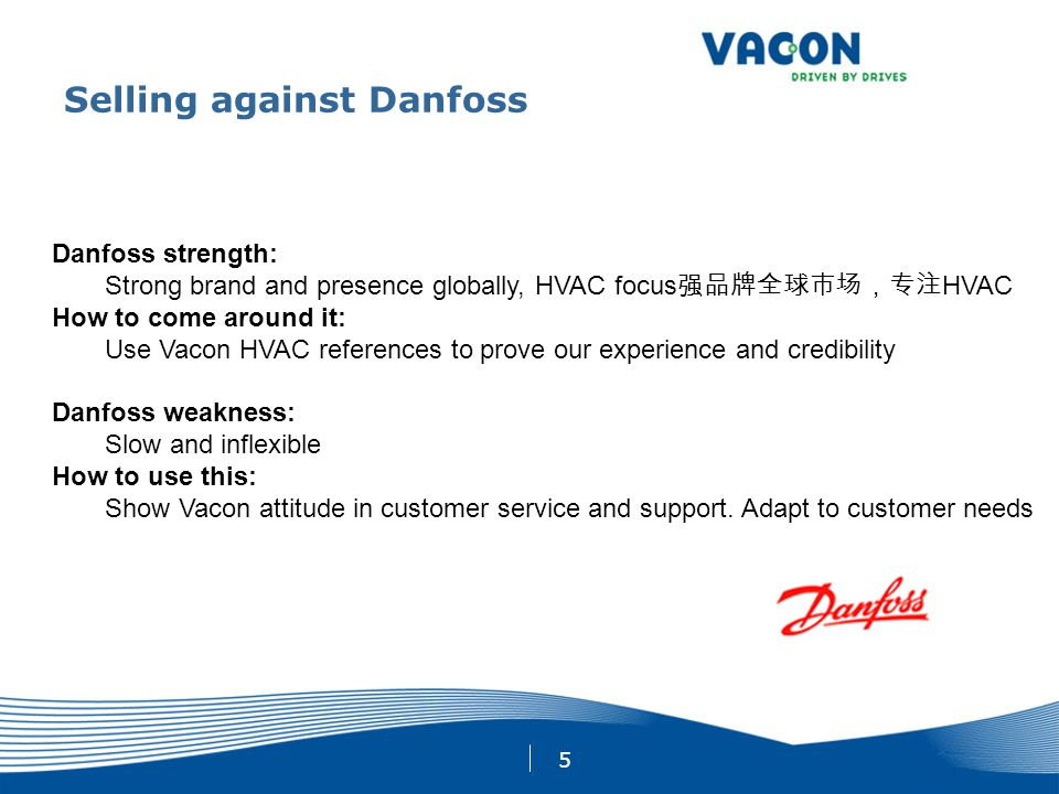 5 Selling against Danfoss Danfoss strength: Strong brand and presence globally, HVAC focus 强品牌全球市场,专注 HVAC How to come around it: Use Vacon HVAC refer