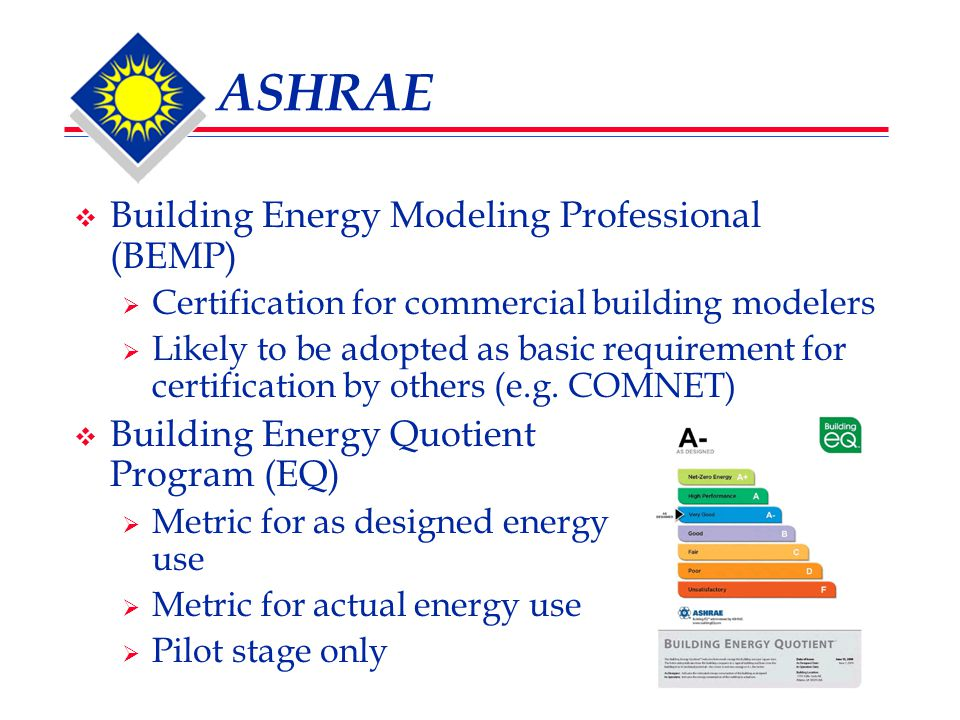 ASHRAE  Building Energy Modeling Professional (BEMP)  Certification for commercial building modelers  Likely to be adopted as basic requirement for certification by others (e.g.