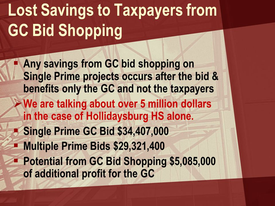 Lost Savings to Taxpayers from GC Bid Shopping  Any savings from GC bid shopping on Single Prime projects occurs after the bid & benefits only the GC and not the taxpayers  We are talking about over 5 million dollars in the case of Hollidaysburg HS alone.