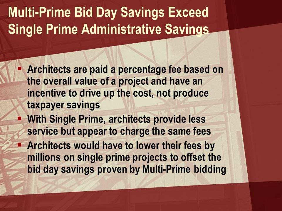 Multi-Prime Bid Day Savings Exceed Single Prime Administrative Savings  Architects are paid a percentage fee based on the overall value of a project
