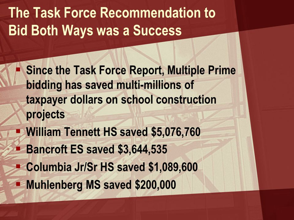 The Task Force Recommendation to Bid Both Ways was a Success  Since the Task Force Report, Multiple Prime bidding has saved multi-millions of taxpayer dollars on school construction projects  William Tennett HS saved $5,076,760  Bancroft ES saved $3,644,535  Columbia Jr/Sr HS saved $1,089,600  Muhlenberg MS saved $200,000