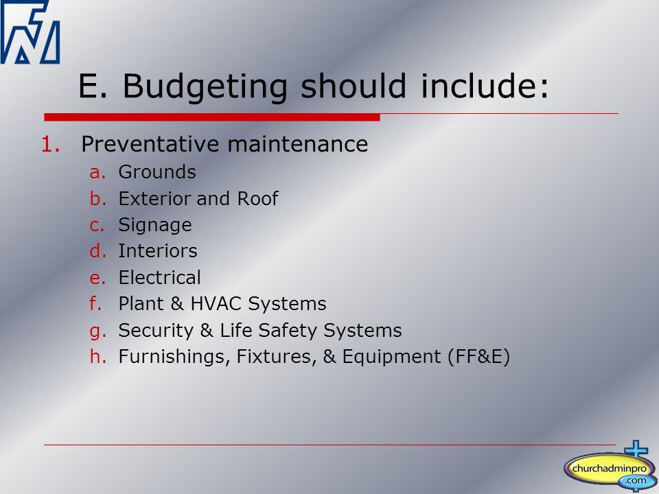 E. Budgeting should include: 1.Preventative maintenance a.Grounds b.Exterior and Roof c.Signage d.Interiors e.Electrical f.Plant & HVAC Systems g.Secu