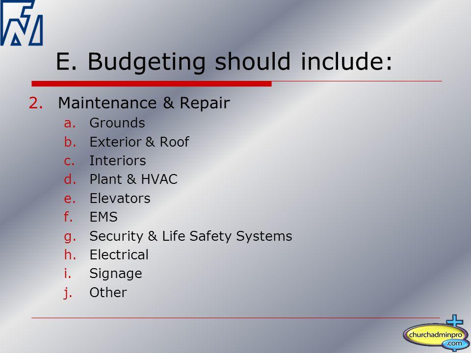 E. Budgeting should include: 2.Maintenance & Repair a.Grounds b.Exterior & Roof c.Interiors d.Plant & HVAC e.Elevators f.EMS g.Security & Life Safety
