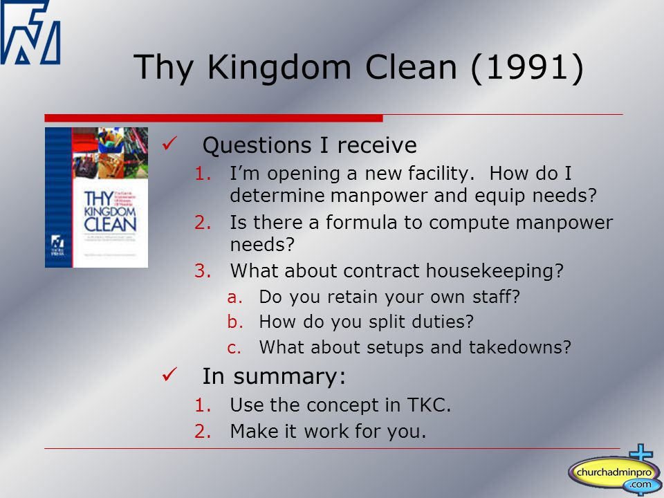 Questions I receive 1.I'm opening a new facility. How do I determine manpower and equip needs.