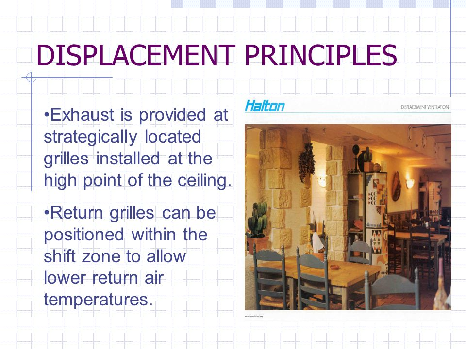 DISPLACEMENT PRINCIPLES Exhaust is provided at strategically located grilles installed at the high point of the ceiling.