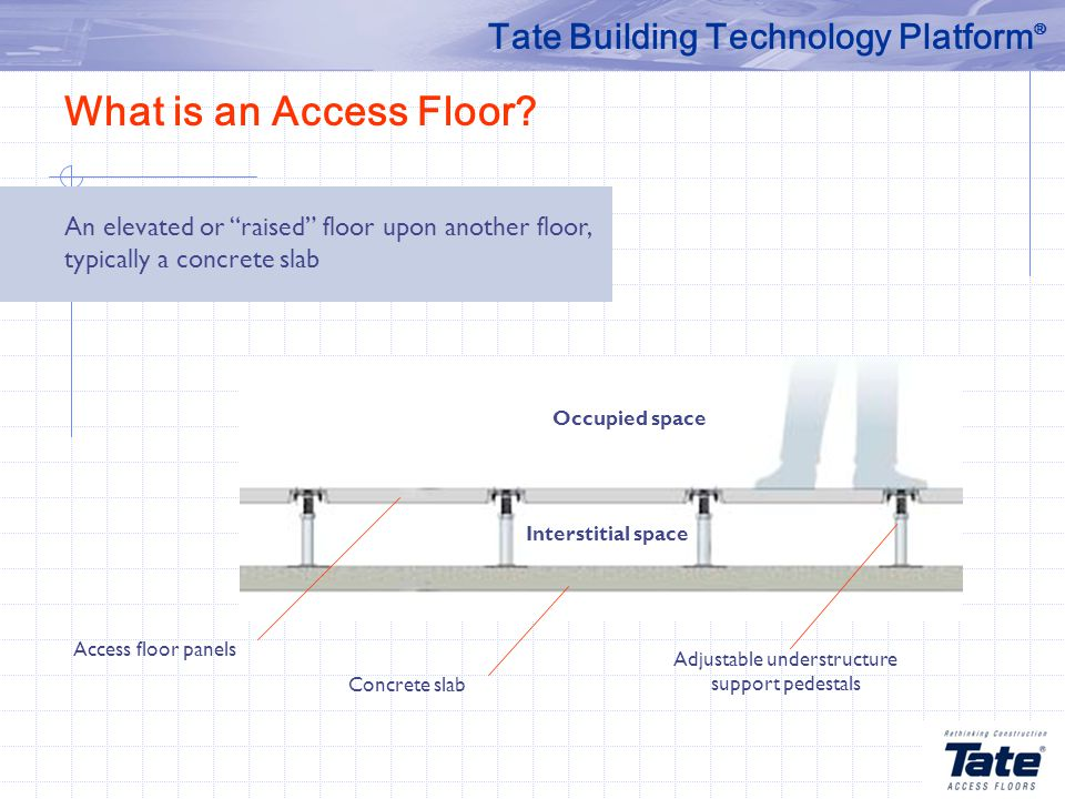 Adjustable understructure support pedestals Concrete slab Occupied space Access floor panels What is an Access Floor.