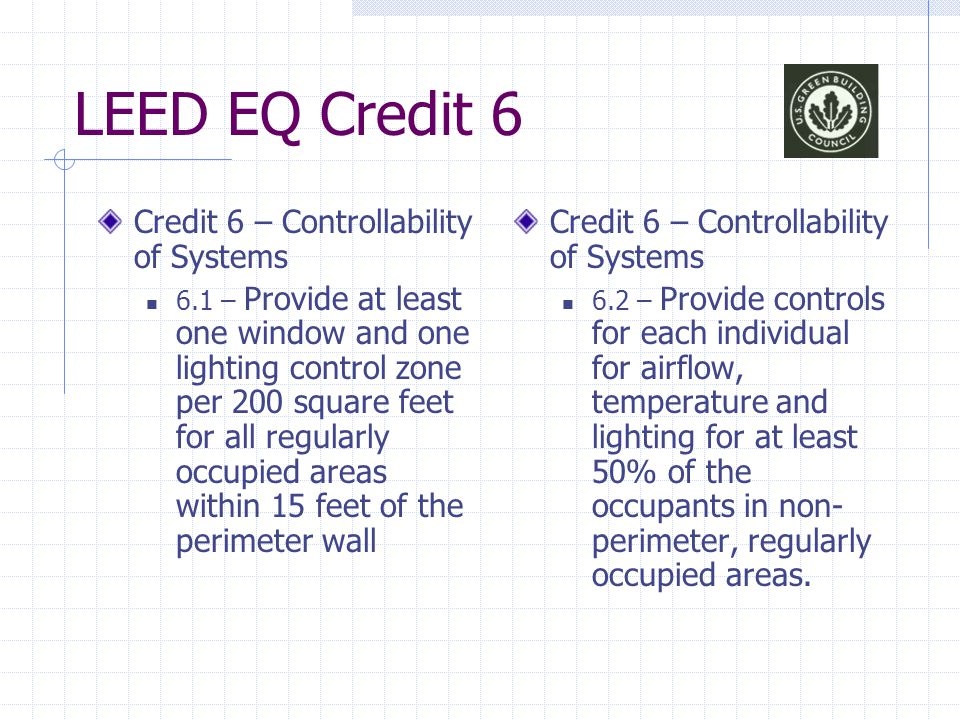 LEED EQ Credit 6 Credit 6 – Controllability of Systems 6.1 – Provide at least one window and one lighting control zone per 200 square feet for all reg