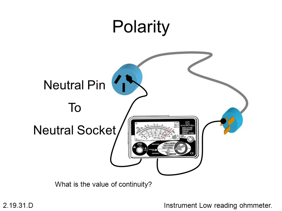 Polarity low  Neutral Pin To Neutral Socket 2.19.31.D  1M  11 Instrument Low reading ohmmeter. What is the value of continuity?