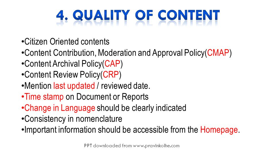 14 Citizen Oriented contents Content Contribution, Moderation and Approval Policy(CMAP) Content Archival Policy(CAP) Content Review Policy(CRP) Mention last updated / reviewed date.