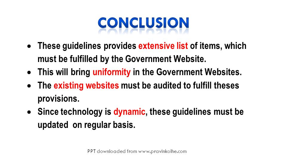 20  These guidelines provides extensive list of items, which must be fulfilled by the Government Website.