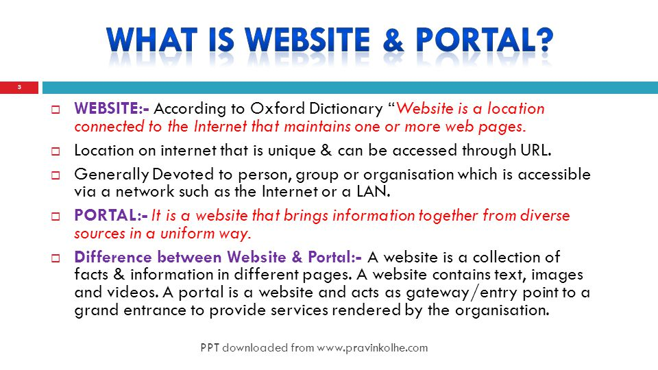  WEBSITE:- According to Oxford Dictionary Website is a location connected to the Internet that maintains one or more web pages.
