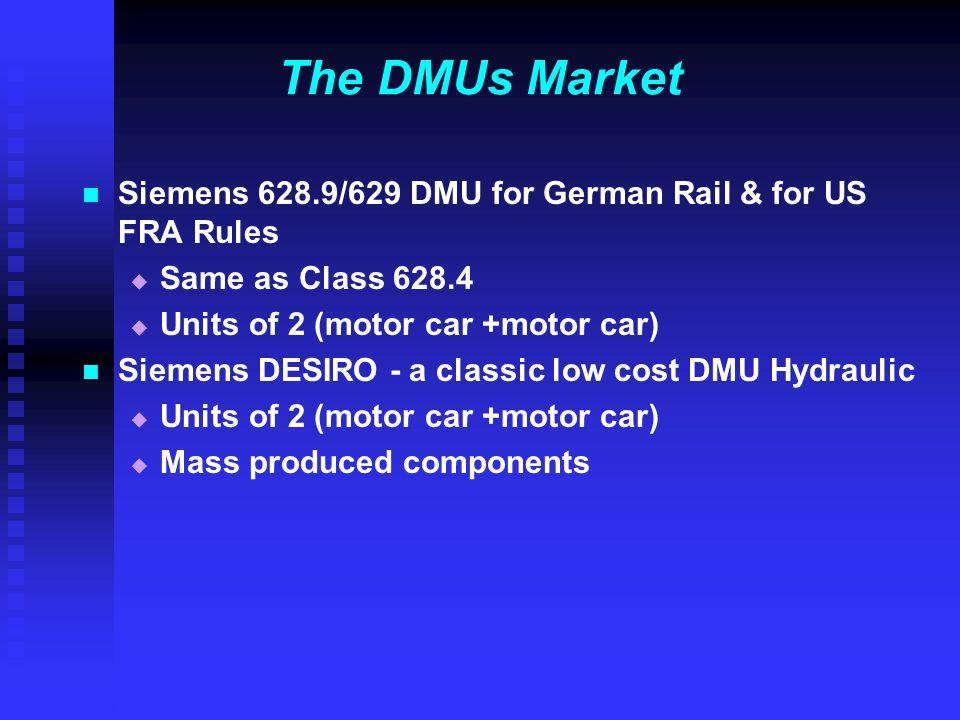 The DMUs Market Siemens 628.9/629 DMU for German Rail & for US FRA Rules   Same as Class 628.4   Units of 2 (motor car +motor car) Siemens DESIRO