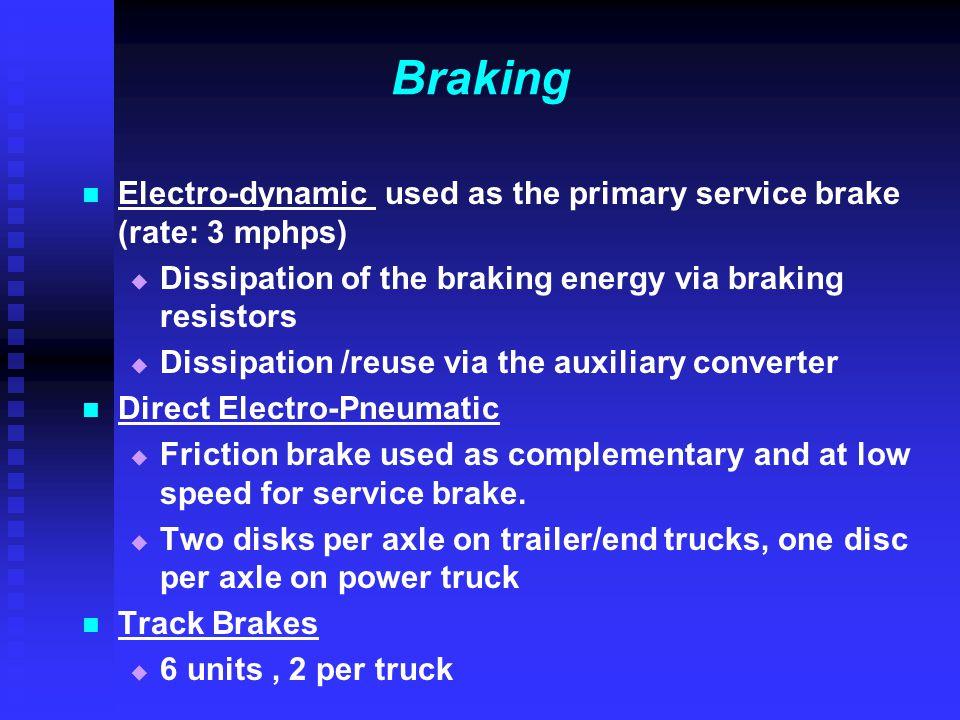 Braking Electro-dynamic used as the primary service brake (rate: 3 mphps)   Dissipation of the braking energy via braking resistors   Dissipation