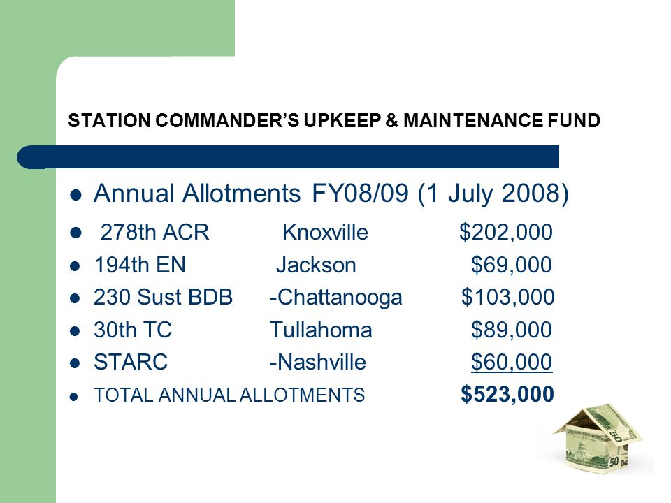 STATION COMMANDER'S UPKEEP & MAINTENANCE FUND Annual Allotments FY08/09 (1 July 2008) 278th ACR Knoxville $202,000 194th EN Jackson$69,000 230 Sust BDB-Chattanooga $103,000 30th TCTullahoma$89,000 STARC-Nashville$60,000 TOTAL ANNUAL ALLOTMENTS $523,000